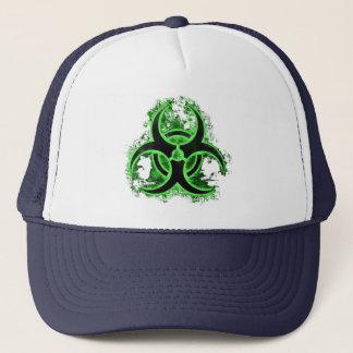 Green & black biohazard toxic warning sign symbol trucker hat