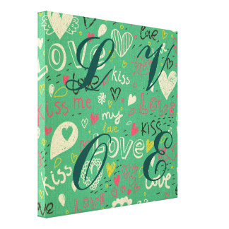 green black board chalk love language pattern cute gallery wrapped canvas