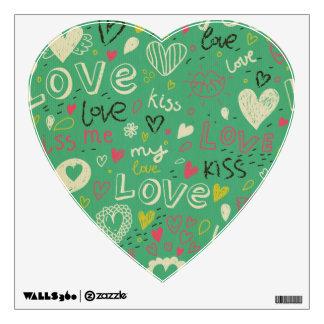 green black board chalk love language pattern cute wall sticker