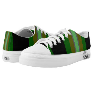 Green Black Bold Stripes Printed Shoes