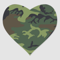 Green black brown camo camouflage military heart sticker
