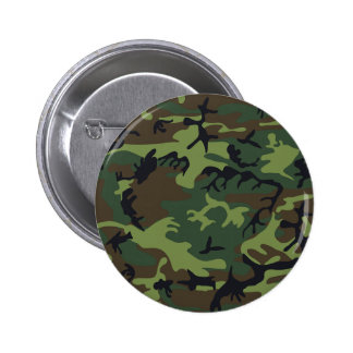 Green black brown camo camouflage military pinback button