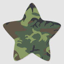 Green black brown camo camouflage military star sticker