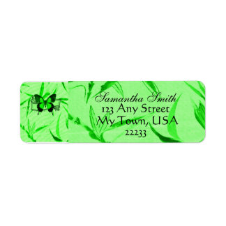 Green & Black Butterfly on Bamboo Leaves Label