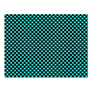 Green Black Checkerboard Pattern Postcard