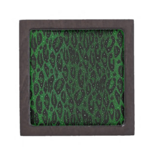 Green Black Cheetah Stars Jewelry Box