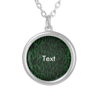 Green Black Cheetah Stars Round Pendant Necklace