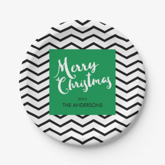 Green, Black Chevron, Merry Christmas Personalized Paper Plate
