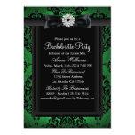 Green & Black Chic Damask Bachelorette Party 5x7 Paper Invitation Card