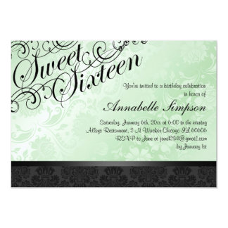 Green & Black Chic Floral Damask Sweet16 Invite