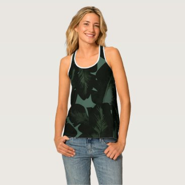 Beach Themed Green & Black Chic Tropical Leaves Pattern Print Tank Top