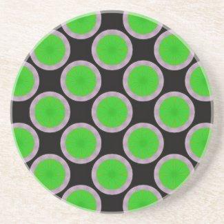 green black circle pattern coaster