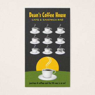 Green Black Coffee Shop Loyalty Awards Punch Cafe Business Card