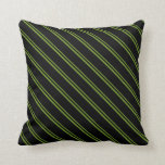 [ Thumbnail: Green & Black Colored Lined Pattern Throw Pillow ]