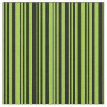 [ Thumbnail: Green & Black Colored Stripes Fabric ]