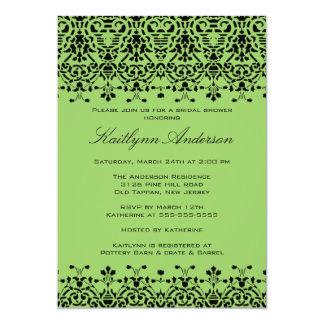 Green & Black Damask Bridal Shower Invitation