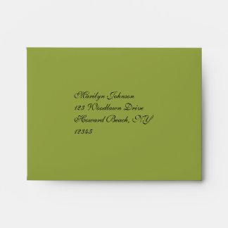 Green, Black Damask Envelope for Reply Card