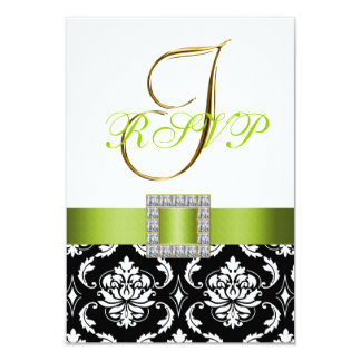 "Green Black Damask Initial Wedding RSVP Pettra 3.5"" X 5"" Invitation Card"