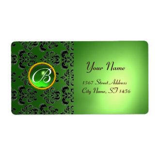 GREEN BLACK DAMASK MONOGRAM,emerald Custom Shipping Labels