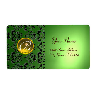GREEN BLACK DAMASK MONOGRAM,yellow topaz Custom Shipping Labels