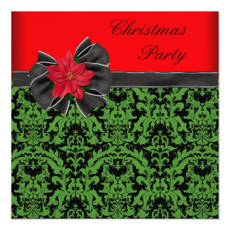 Green Black Damask Poinsettia Christmas Party Card