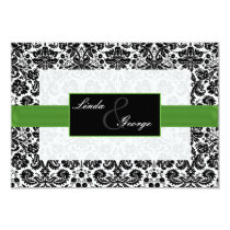 green,black damask rsvp cards standard 3.5 x 5
