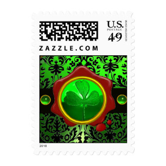 GREEN BLACK DAMASK ,SHAMROCK AND RED WAX SEAL POSTAGE