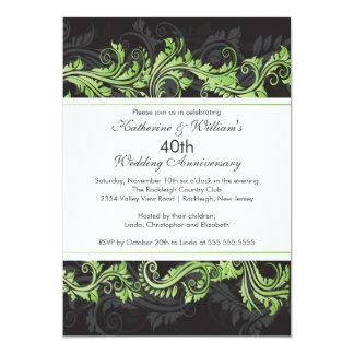 Green Black Damask Swirl Anniversary Invitation