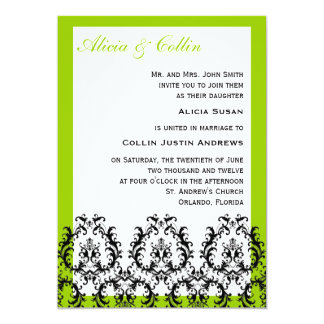 Green Black Damask Wedding Invitations