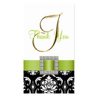 Green, Black Damask Wedding Thank You Initial I Business Card