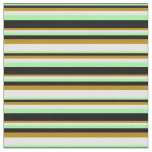 [ Thumbnail: Green, Black, Dark Goldenrod & Mint Cream Colored Fabric ]