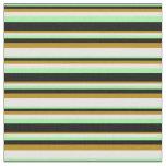 [ Thumbnail: Green, Black, Dark Goldenrod & Mint Cream Colored Fabric ]