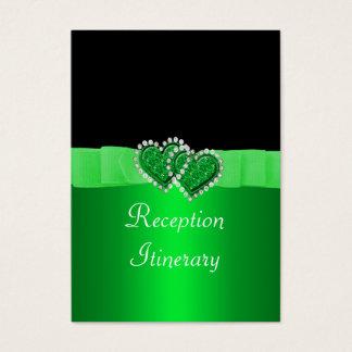 Green & Black Diamond Locking Hearts Wedding Business Card