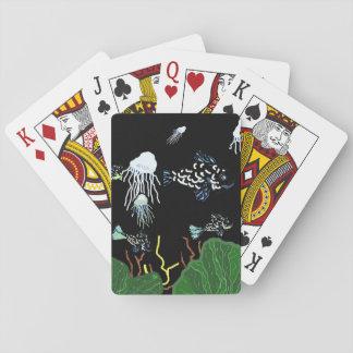 Green Black Fish Jellyfish Playing Cards