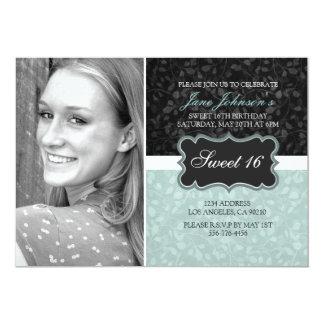 Green & Black Floral Design Photo Sweet16 Invite