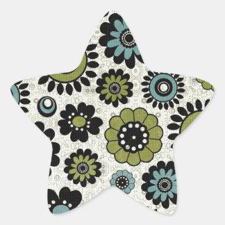 Green Black Flower Power Background Star Sticker