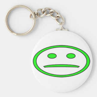 Green & Black Frowny Face Basic Round Button Keychain