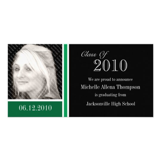 Green & Black Graduation Announcement Photo Cards