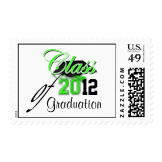 """Green black graduation party """"class of"""" postage stamps"""