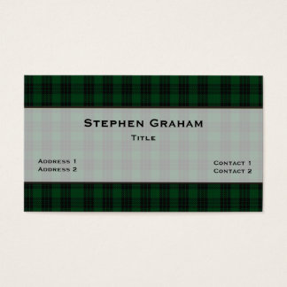 Green & Black Graham Tartan Plaid Custom Business Card