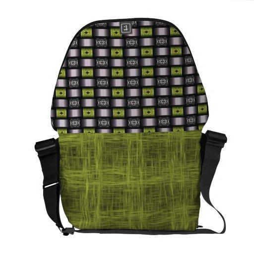 Green Black Graphic Check Pattern Messenger Bag