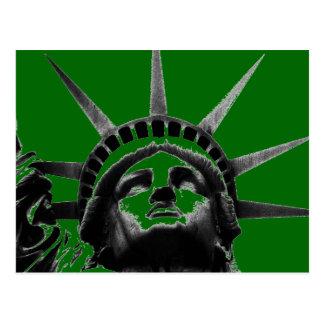 Green Black Gray Statue Liberty Pop Art Postcard