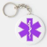Green Black Grey Purple  Nurse EMS Star of Life Basic Round Button Keychain