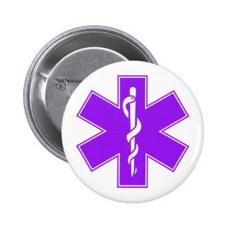 Green Black Grey Purple  Nurse EMS Star of Life Button