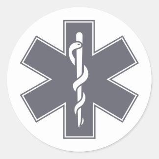 Green Black Grey Purple  Nurse EMS Star of Life Classic Round Sticker