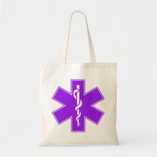 Green Black Grey Purple  Nurse EMS Star of Life Tote Bag