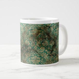 Green black grunge damask wallpaper 20 oz large ceramic coffee mug