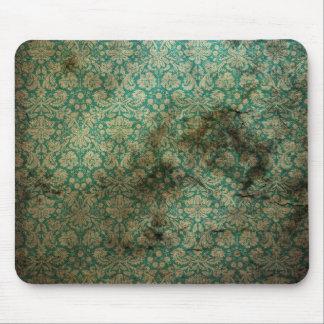 Green black grunge damask wallpaper mousepad
