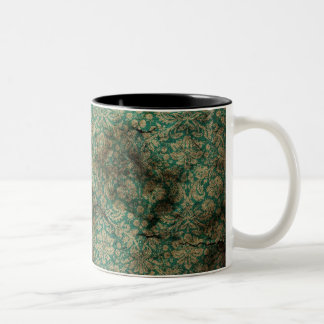 Green black grunge damask wallpaper Two-Tone coffee mug