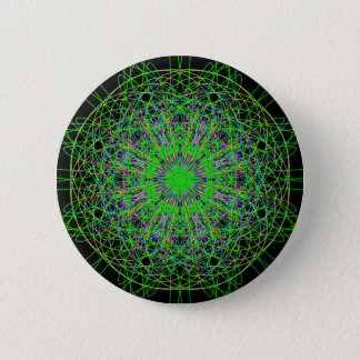 Green Black Kaleidoscope Mandala Art Button